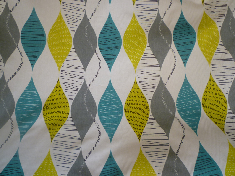 Teal Blue Fabric Grey Greeny -Yellow White Funky UK Geometric ...