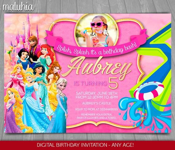 Disney Princess Gallery Slideshow: Princess Water Slide Invitation Disney Princess Summer Pool