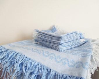 Vintage french tablecloth & 12 dinner napkins, 1950s, Blue damask napkin, Nappe serviette damassé bleu, France