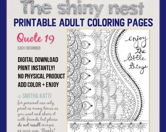 Coloring, mindfulness colouring pages, colouring for adults, adult colouring pages, inspirational coloring, Grown up Coloring,  Quote 19
