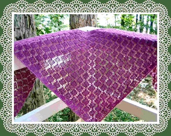 Easy garter stitch diamond lace shawl pattern PDF