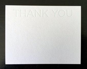 Thank You Grey Tonal Letterpress Notecard Set of 10