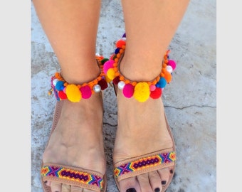 Pom pom sandals/ greek sandals/ankle strap /handmade/geunine leather /sandali/multicolor pom pom/ free shipping