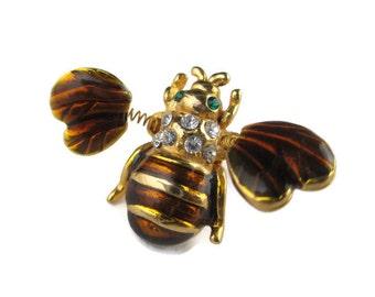 Vintage Rhinestone Enamel Bee Bug  Insect Trembler Lapel Scatter Pin