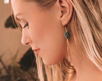 Green Apatite Gold Drop Earrings | Cluster Earrings | 14k Gold Earrings | Gemstone Earrings | Green Earrings | Long Earring | Gift for Her