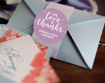 With Love and Thanks, Custom Labels - Personalized Stickers -  Round Stickers - Lavender - Color Coordinated - Wedding Decor - Thank you