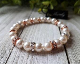 Bracelet pearls Swarovski, cubic, steel rose, gift, wedding, bridesmaid, handmade in quebec