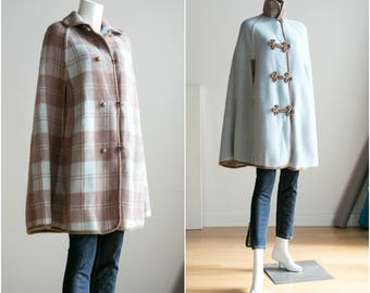 Reversible Wool Cape | Plaid Wool Cape | Blue Wool Cape | Brown Wool Cape |Vintage Wool Cape | Fall Capel Christmas Cape  | Two sided |