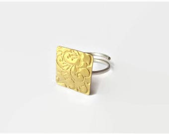 Handmade everyday squares engraved  ring.Adjustable.