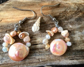Pink Pearl Earrings, Pearl Earrings, Gift for Her, Pukka Shell, Boho Earrings, Bohemian Earrings, Hanalei Bay, Hanalei Jewelry, Kauai