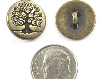 TierraCast Pewter Buttons-Brass OxideTREE OF LIFE (2)