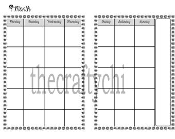 PRINTED Monthly Calendar, Traveler's Notebook / Fauxdori Insert-  Now Personal AND A6 Size included!!