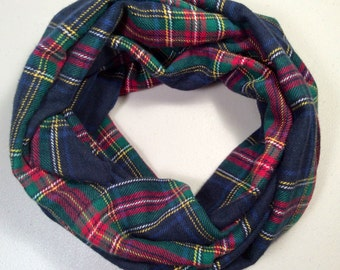 Single Loop Flannel Scarf, Plaid Infinity Scarf, Winter Scarf, Womens Scarf, Infinity Scarf, Tartan Scarf, Circle Scarf, Christmas Gift