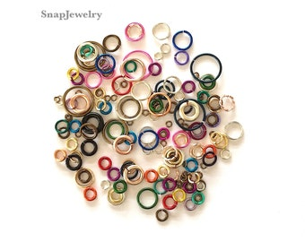 """DIY Snap Jewelry KIT Includes: 5 grams Colorful Jump Rings, 46g Black Apoxie Sculpt®,  25 qty (20mm) Snap Bases and 24"""" length Ball Chain"""
