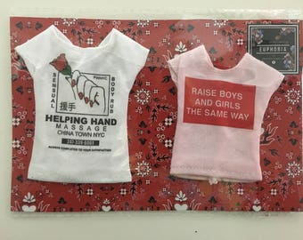 pack of two t-shirts for Barbie / poppy parker / 1:6 / blythe