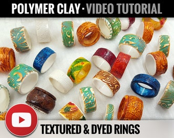 Polymer Clay Tutorial Vol.15: DIY How to make «Textured & Dyed Rustics Rings» Polymer Clay, New Technique, Video Tutorial, Instant Access