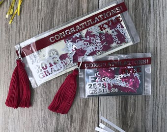 Graduation Money Holder Card, Gift Card Holder, Maroon and Silver Custom Graduation Gift, Graduation Card, Graduation, Money Holder Card