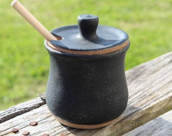 Matte Black Pottery Honey Pot Wheel Thrown Jar Handmade Stoneware