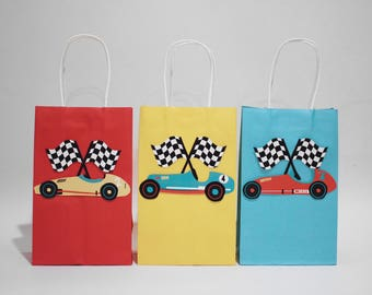 Vintage Race Car - Favor Bags |  Red, Yellow, Teal | with Gift Tag | Set of 6 | Birthday Party Favors | Race Car Party