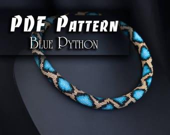 PDF Pattern for bead crochet necklace - CBB file - Jewelry patterns - Python pattern