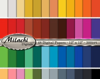 60% OFF SALE 48 Digital Papers Solid Colors Printable Digital Paper Pack 12 x 12 Commercial Use - Instant Download - M193
