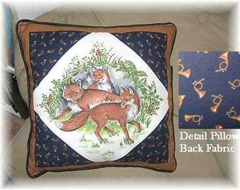 "Markdown Sale...RED FOX Fox Hunt Theme Decorative 14"" Pillow w/Piping Trim"