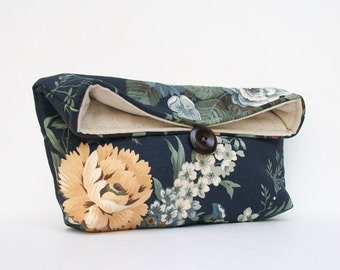 Navy Clutch, Midnight Blue Clutch, Floral Clutch, Yellow, Bridesmaid Gift, Bridesmaid Clutch Purse, Under 25, Makeup Bag