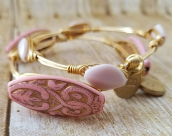 Spring light pink vintage beaded wire wrapped bangle, bracelet, Bourbon and boweties inspired