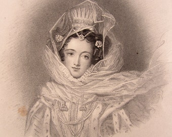 Engraving of the Beautiful Isidora, 1830s.