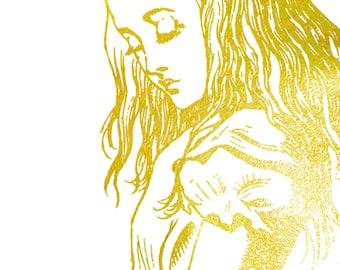 Alice in Wonderland Gold Golden Art Print Lewis Carroll Nursery Metallic