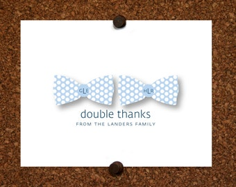 Twin Monogram Polka Dot Bow Tie Thank You Note Cards. Twin Bow Tie Monogram Stationery. Personalized Stationery. Bowtie Monogram(Sets of 10)