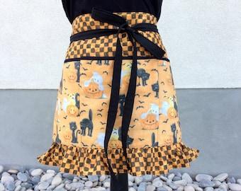 Halloween Half Apron, Pockets Ruffled Orange and Black Teacher Apron, Craft, Vendor, Utility, Cooking Apron