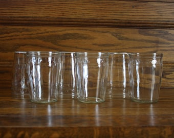 Clear Juice Glasses with Star Border -- Set of 6