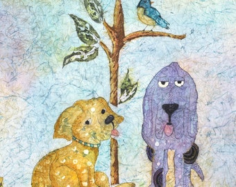 Watercolor Dogs,Dog Art,Dog Painting,Watercolor Dog,Folk Art,Watercolor Batik,Batik Art, Batik Watercolor,Hound Dog, Terrier Dog