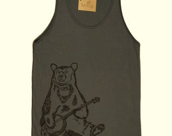 Mens Tank Top - American Apparel - Banjo Bear Gray Tank Top - Funny Mens Tanks - Graphic Tanks for Men - Printed Tank Tops - Hipster Muscle