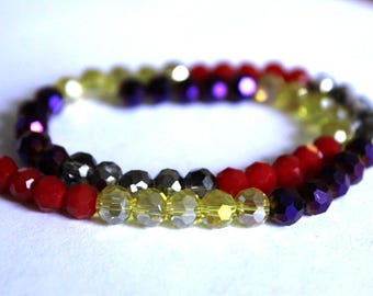 6 mm Faceted Red, Smoky, Purple and Yellow Beads
