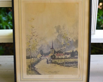 "Framed Lithograph ""Late Afternoon"" Vintage by Marion, Signed"