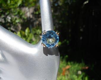 Vintage Faceted Blue Color Glass Ring Size 7.5