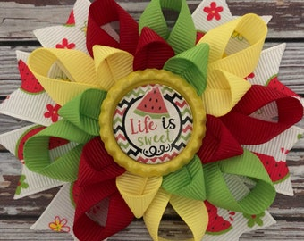 Watermelon loopy hairbow flower stacked hairbow with bottlecap watermelon embellishment