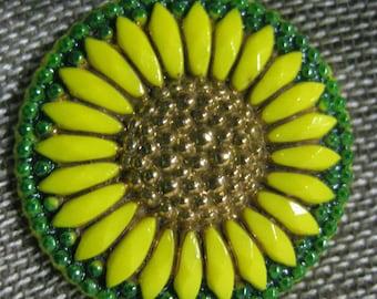 Sunny Sunflower in Yellow Czech Glass Button 27mm