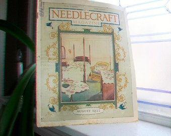 1922 Needlecraft Magazine August Issue with Large Cream Of Wheat Ad Vintage 1920s Sewing
