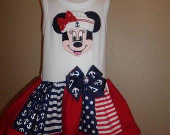 Ahoy Bon Voyage Mouse Ruffle Dress