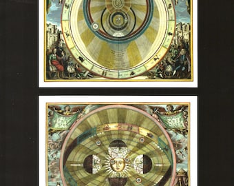 Celestial Charts from Harmonia Macrocosmica Book Page to Frame or for Paper Arts, Collage, Scrapbooking PSS 3402