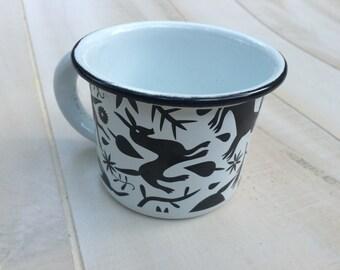 Otomi émail tasse à café tasse Enamelware pas Vintage