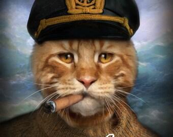 Cat Portrait, Captian Cat portrait, Cat Portrait Custom, Cat Portrait Custom, Pet Portrait, Custom Pet Portrait, Pet Portrait From Photo