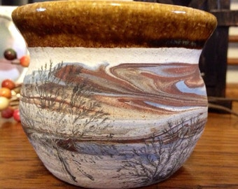 Small Potters Hand Planter with Trees and Cloudy Sky Motif