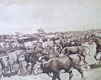 Vintage Educational Print Wall Art Poster 'Cattle Ranch' Mid Century 1940's 50's