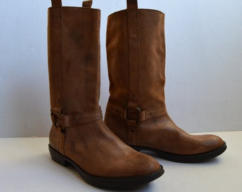 Vintage Motorcycle Boots Brown Leather Boots Work Boots Rustic Boots Cowboy Boots Western Roper Style Boots size UK 11 EU 45 US 11/5