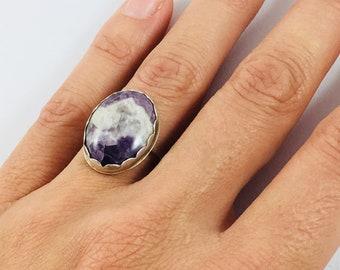 Size 7, Amethyst Ring, Amethyst Jewelry, Amethyst, Stone Ring, Silver Ring, Banded Amethyst, Chevron Amethyst, READY TO SHIP