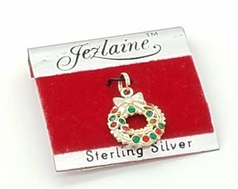 Vintage Sterling Silver Christmas Wreath Charm / Pendant With Red & Green Rhinestones Signed Jezlaine Jewelry